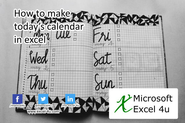 How to make today's calendar in excel