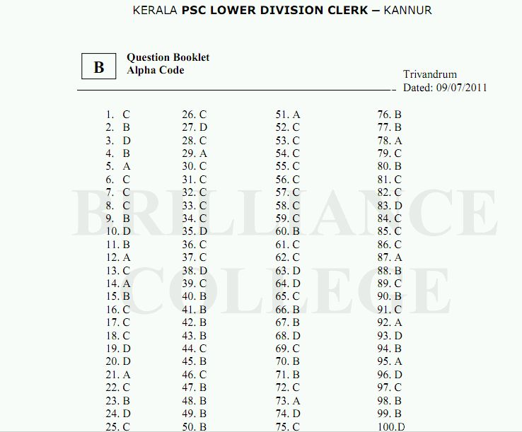 Kerala PSC LDC Answer Key Kannur 2011, Solutions