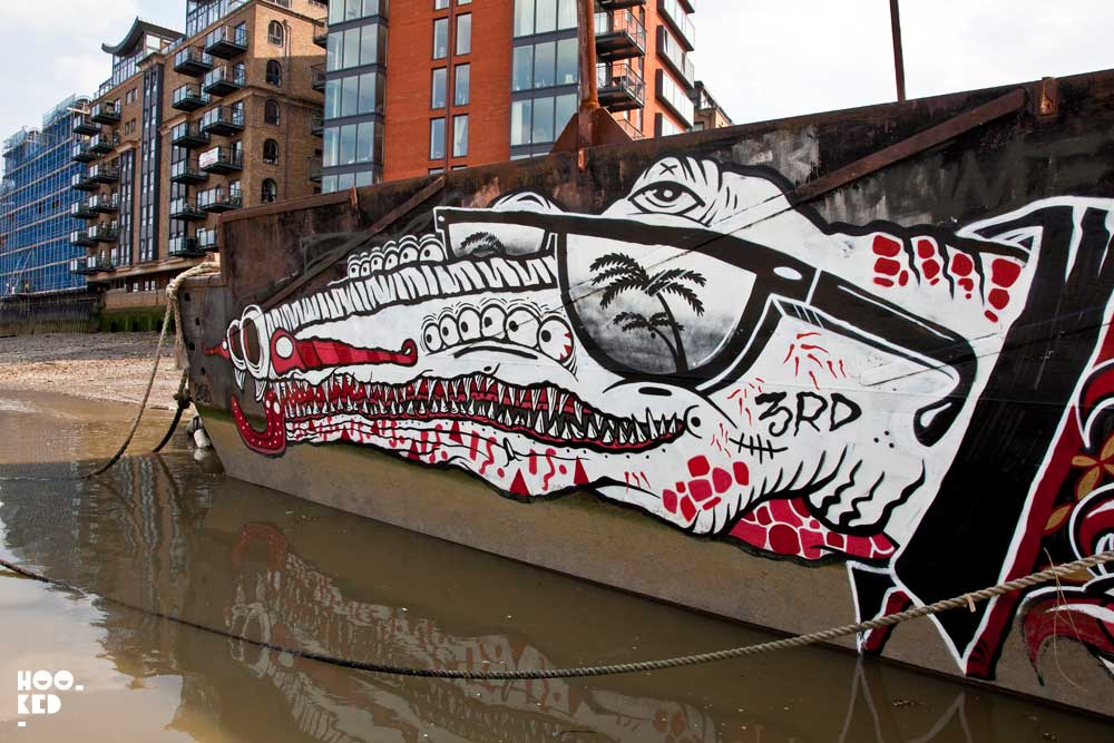 Boat art in London with street artist Yok and Sheryo
