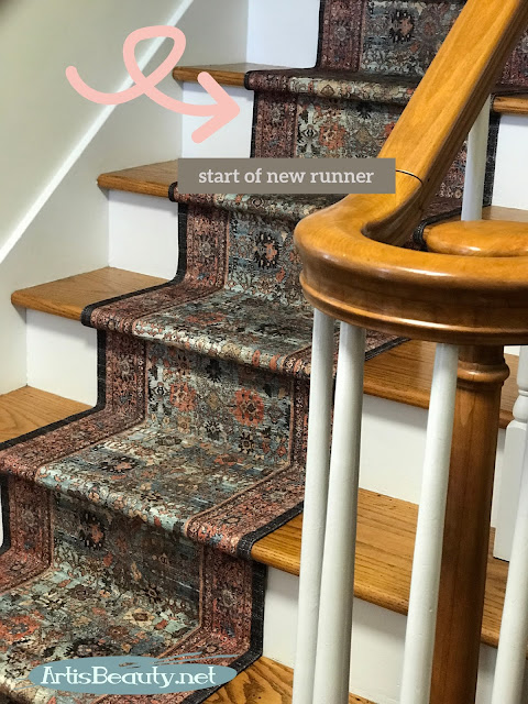 transitioning throw rugs to create a solid stair runner vintage inspired persian rug