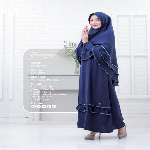 silmi fashion gamis farhana deep blue