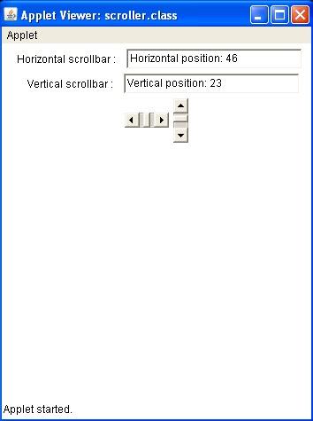 Java program codes: Java Applet scrollbar program using