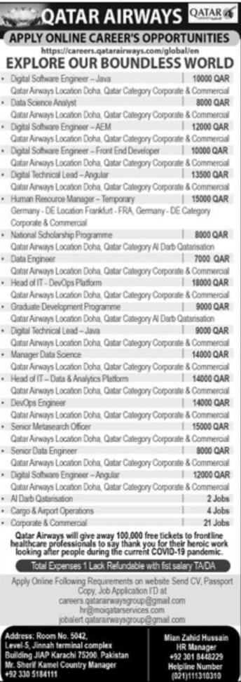 Qatar Airways Jobs 2020 in Doha Career Opportunities Apply Online