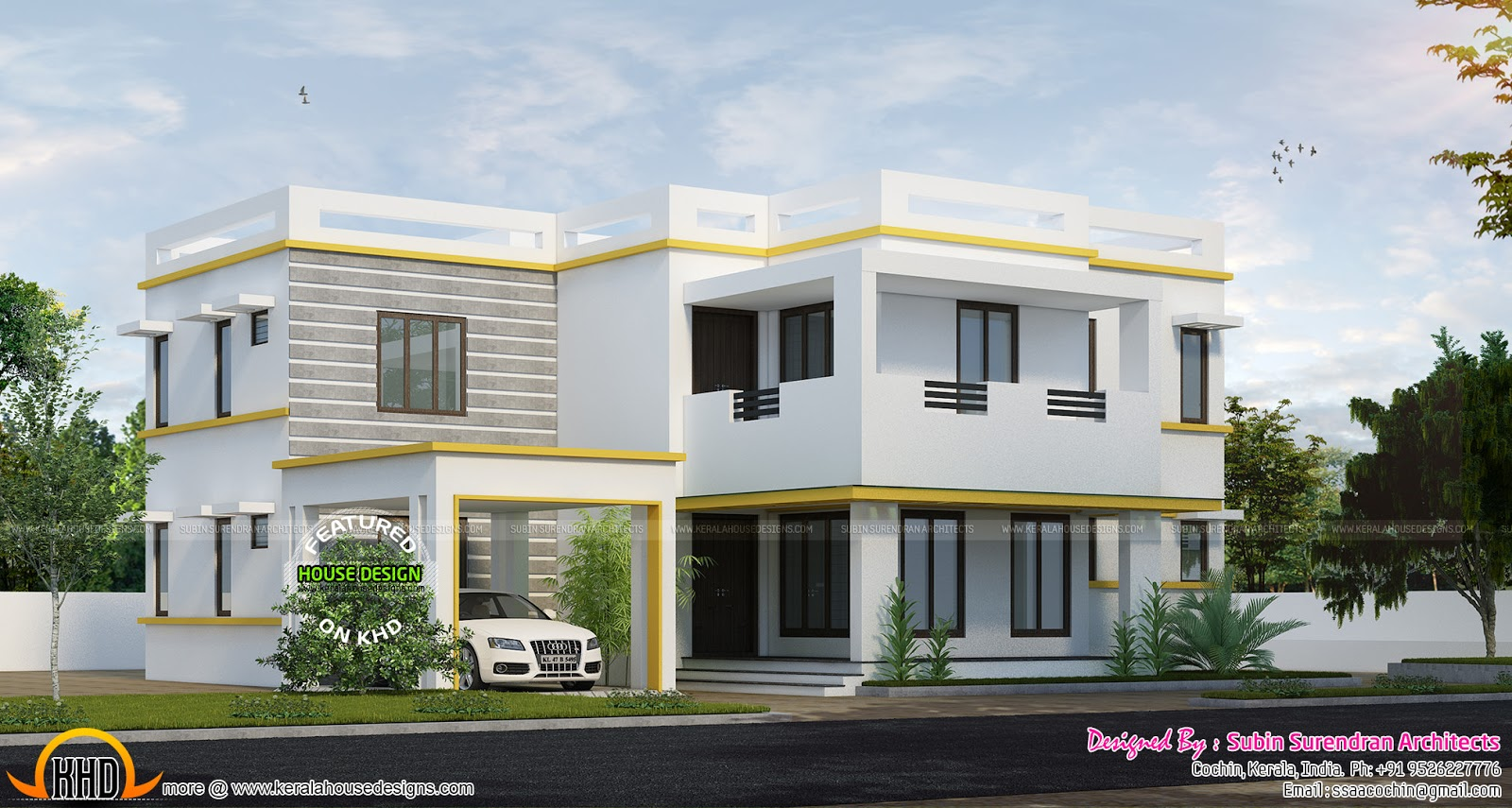 Flat roof home in 2370 square feet kerala home design for Car porch roof design