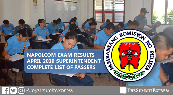 LIST OF PASSERS: April 2019 NAPOLCOM promotional exam result for Superintendent