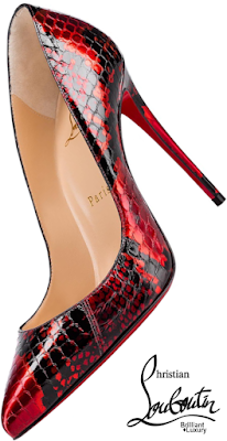Brilliant Luxury♦Christian Louboutin Pigalle Follies in liquid-sleek red and black snakeskin pumps #shoes
