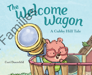 "A cartoon bear with jeans, a green sweater, and red glasses looks through a telescope atop a tree fort below a title that reads ""The Welcome Wagon A Cubby Hill Tale"" and at the bottom of the page is the name of author Cori Doerrfeld"