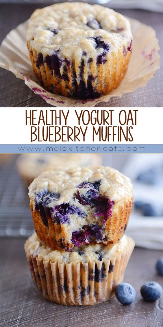 HEALTHY YOGURT OAT MUFFINS {WITH BLUEBERRIES OR CHOCOLATE CHIPS!}