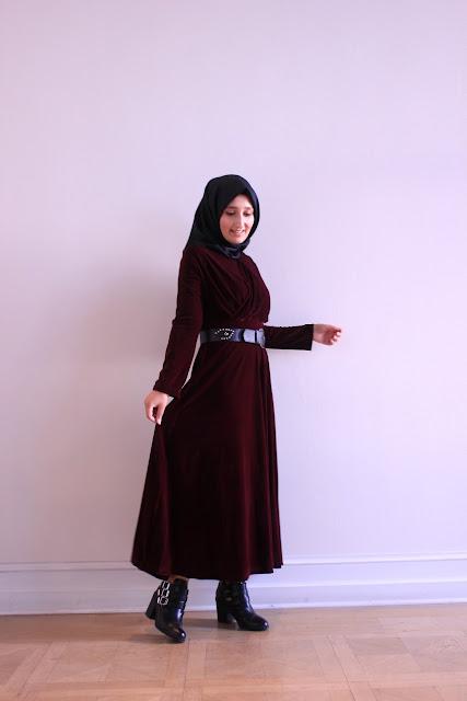 bordo kadife elbise
