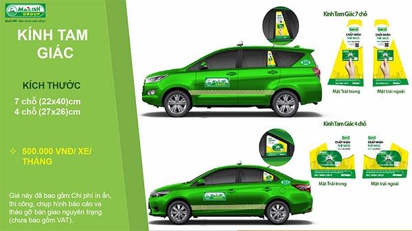 Báo giá dán decal quảng cáo trên kính tam giác xe Taxi Mai Linh