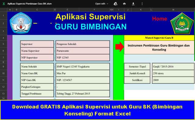 Download Gratis Aplikasi Supervisi untuk Guru BK Format Excel