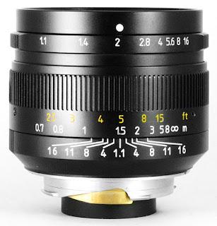Объектив 7Artisans 50mm f/1.1, вид сбоку