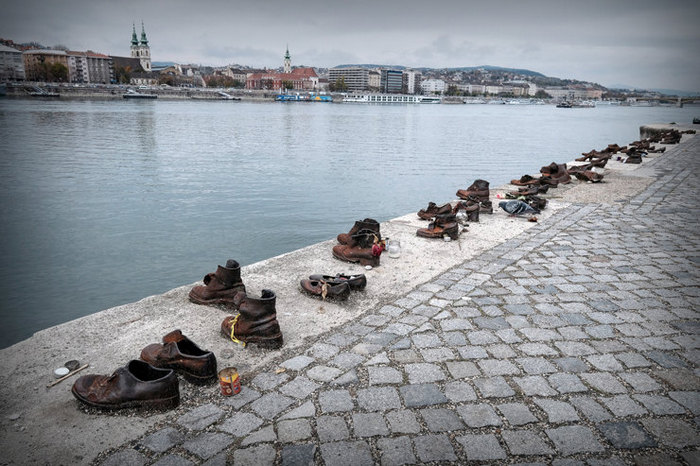 Shoes on the embankment of the Danube