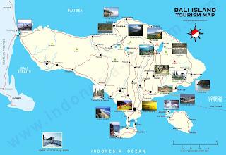 Mapa turístico de la Isla de Bali.
