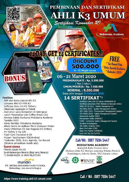 Ahli K3 Umum kemnaker tgl. 6-21 Maret 2020 di Jakarta