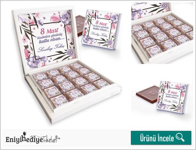 8 Mart Kadınlar Günü Çiçek Motifli Çikolatalar