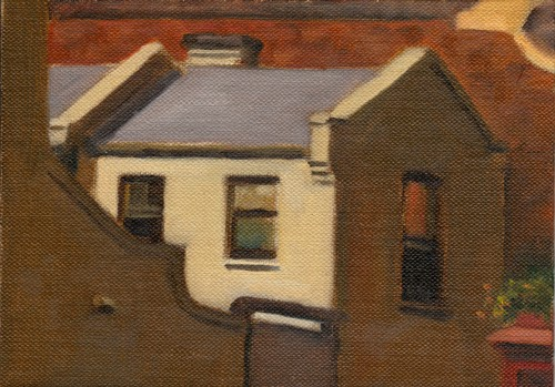 Oil painting of a small double story Victorian building with a sliding gate in the foreground.