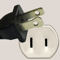 NEMA 1-15 plug with two flat parallel prongs