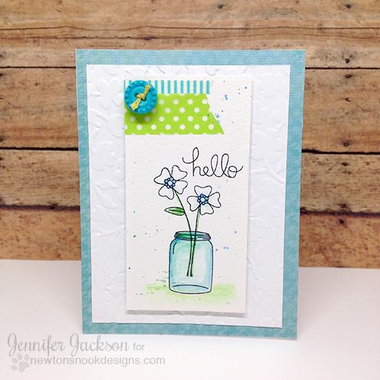 Floral Hello card by Jennifer Jackson | Versatile Vases Stamp set by Newton's Nook Designs #newtonsnook
