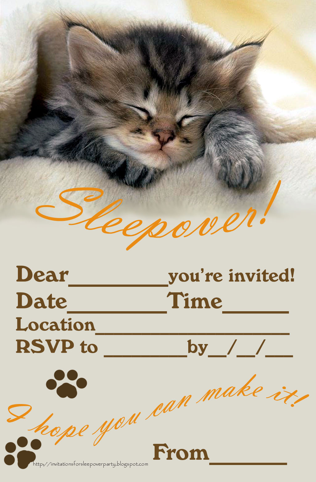 Critical image inside printable slumber party invitations