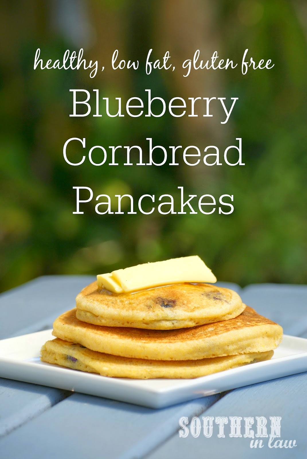 Healthy Blueberry Cornbread Pancakes Recipe | gluten free, low fat, healthy, low sugar, clean eating friendly