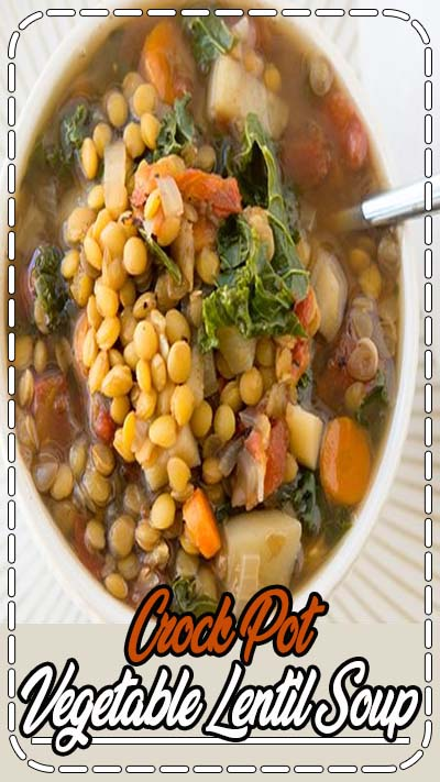 Crock Pot Vegetable Lentil Soup Recipe - This warm and comforting veggie lentil soup is vegan, delicious, and so easy to prepare using your slow cooker. This is a fantastic plant-based meal that will warm your belly and leave you feeling satisfied