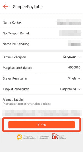 data diri pengajuan tambahan limit shopee paylater