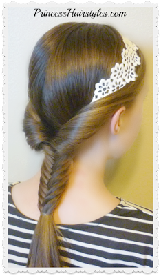 Adorable headband hairstyle with fishtail braid