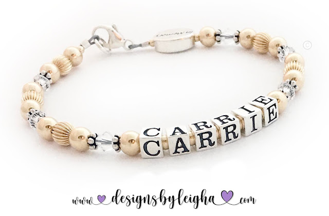 Carrie is shown on this Gold Mother In Memory Bracelet