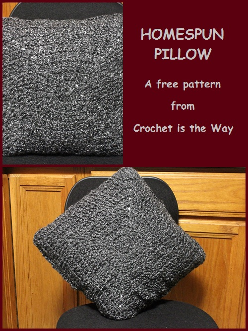 "free pattern, crochet, pillow, square, granny square, double crochet, 16"" pillow, cushion, cover, 40.5 cm pillow, easy, Homespun, yarn, bulky, men's, home decor"