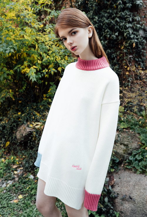 Heart Club Embroidered Logo Detail Loose Knit Dress