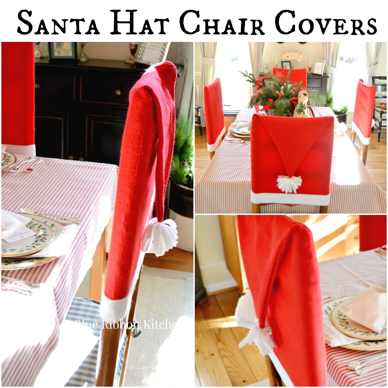 Merry Christmas Chair Covers Beach Chairs Clearance Blue Ribbon Kitchen Santa Claus Is Coming Hat