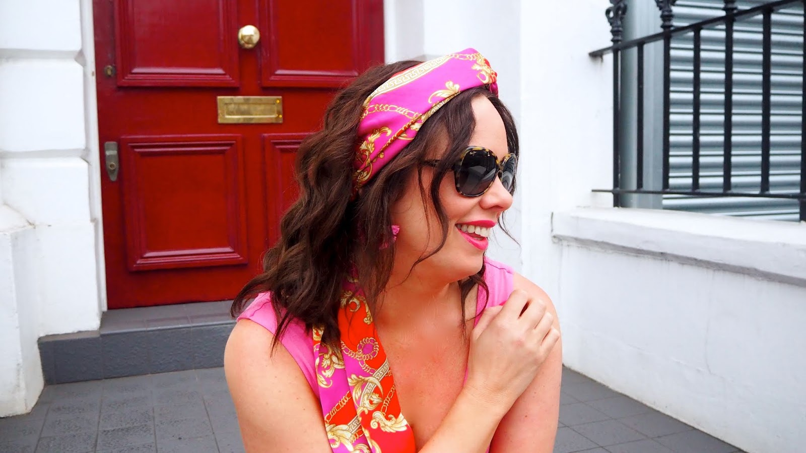 pink, red and yellow chain print headscarf
