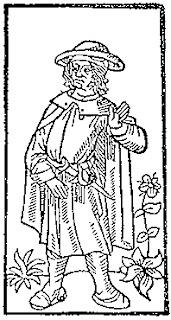 Ξυλογραφία που απεικονίζει τον Βιγιόν σε έκδοση της ποιητικής του συλλογής Grand Testament de Maistre François Villon στα 1489