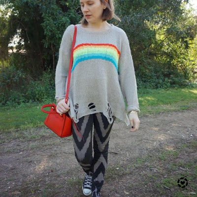 awayfromtheblue Instagram | printed jeans with rainbow knit and red rebecca minkoff micro avery bag wildfox distressed sweater