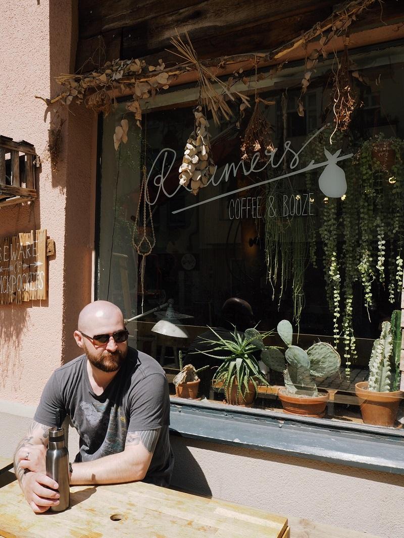 Gordon outside Roamers, Berlin