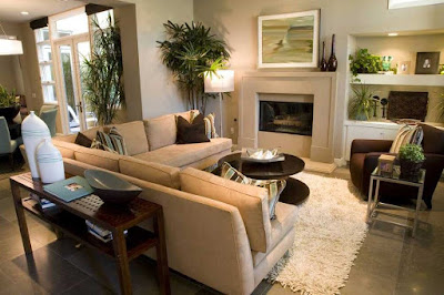 Small L-shaped living room with fireplace