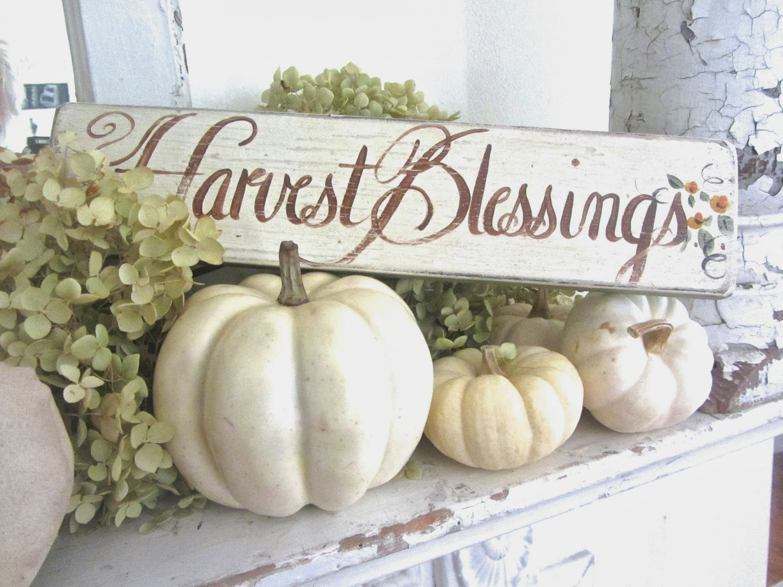 change up on my mantel for fall. I found my Harvest Blessings sign ...