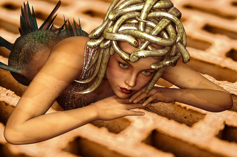 Medusa - A beautiful woman who turned into a snake monster