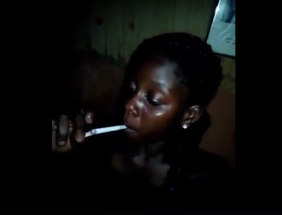 Young Nigerian girl comes under fire for recording herself smoking marijuana(Photos + Video)