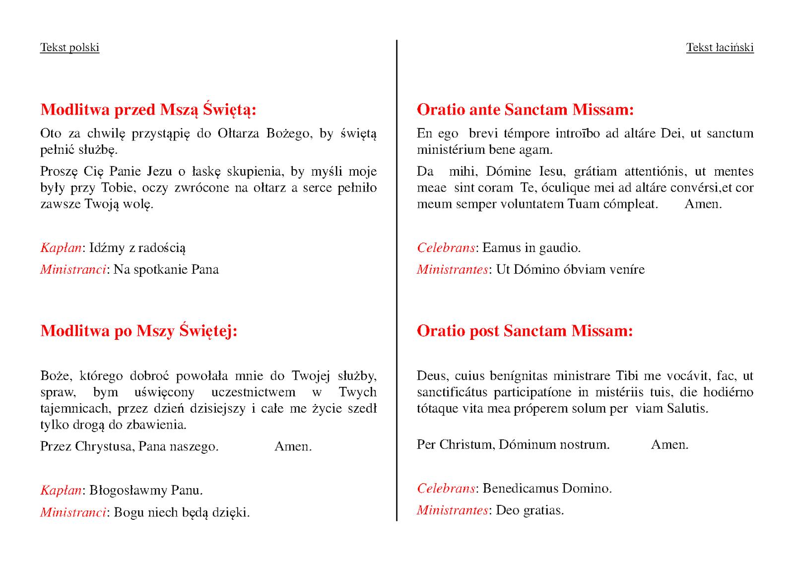 Służba Liturgiczna Parafii na Kamionku: Ministnanckie modlitwy po łacinie