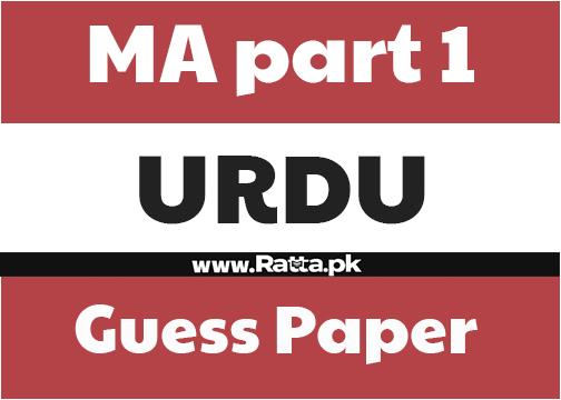 MA Urdu Part 1 Guess Paper 2021
