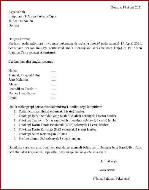 Contoh Application Letter Untuk Akuntansi (Fresh Graduate) Berdasarkan Informasi Dari Website