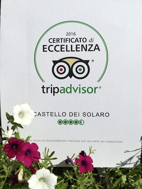 Certificato di Eccellenza 2016 Tripadvisor - Castello dei Solaro