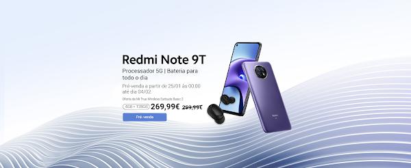 Xiaomi Redmi Note 9T em pre venda em Portugal