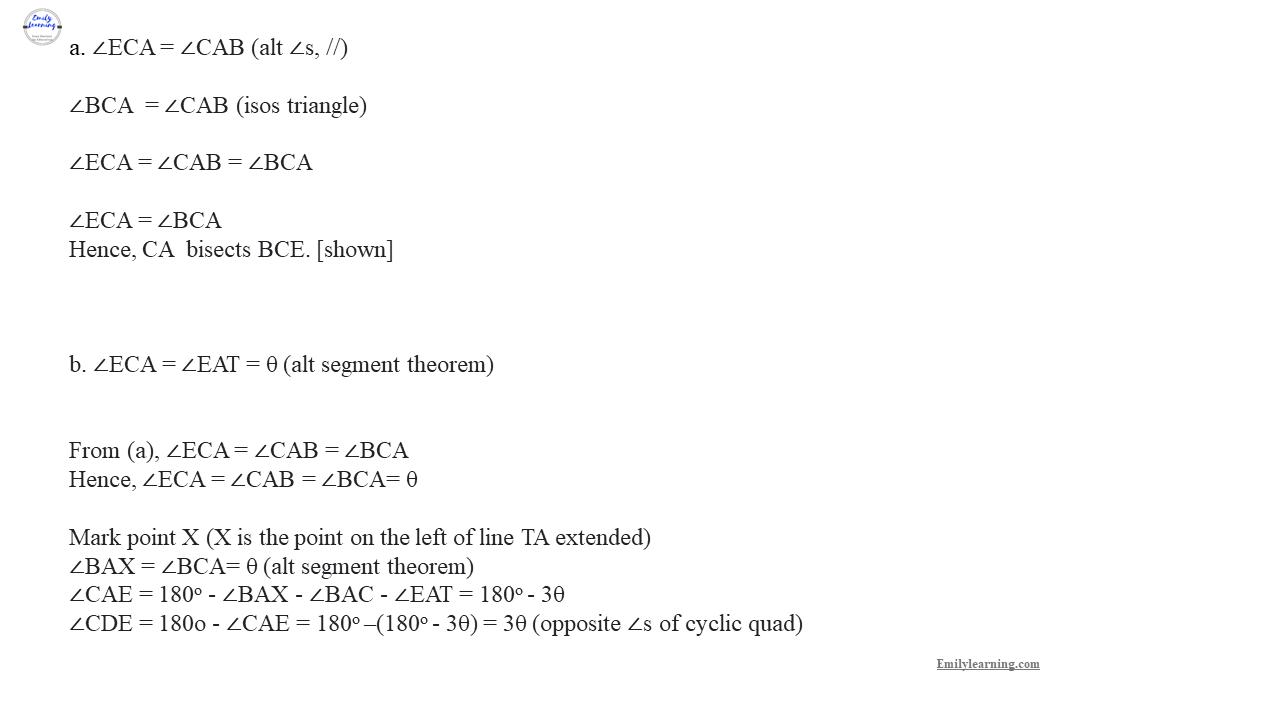 Add Math Specimen Paper 1 Question 11 - proof in plane geometry