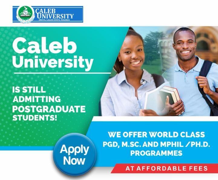 Caleb University Postgraduate Admission Form 2021/2022