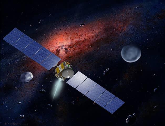 Dawn spacecraft traversing asteroid belt
