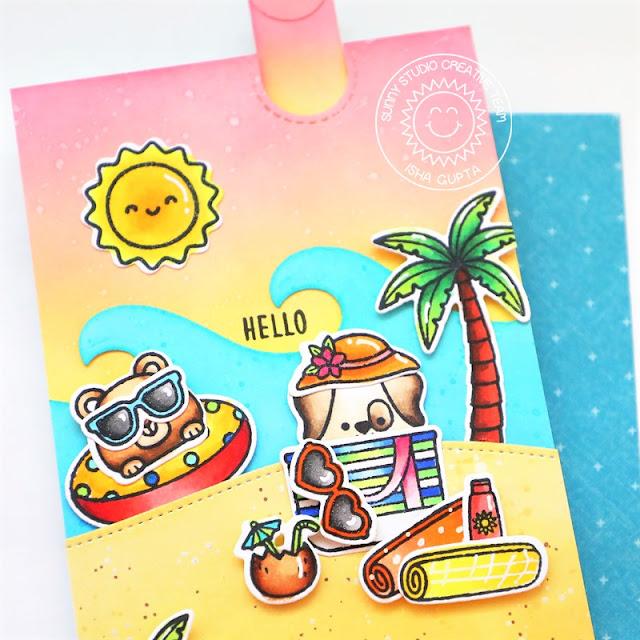 Sunny Studio Stamps: Beach Buddies Beach Babies Slimline Dies Tropical Scenes Beach Themed Summer Cards by Isha Gupta