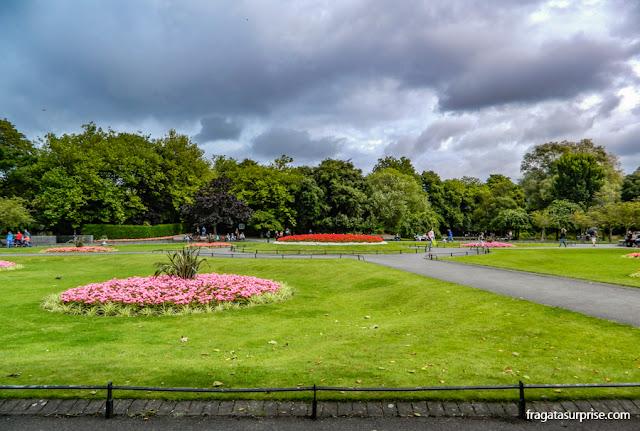 Clima em Dublin: chuva em St. Stephen's Green